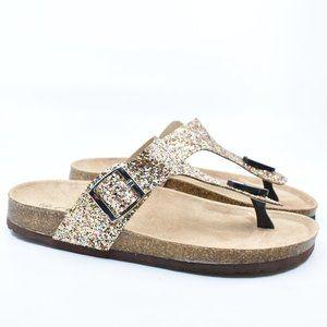 Gold Glitter Thong Cork Buckle Slide Sandal